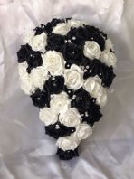 ARTIFICIAL WEDDING FLOWERS WHITE BLACK BRIDE CRYSTAL WEDDING TEARDROP BOUQUET